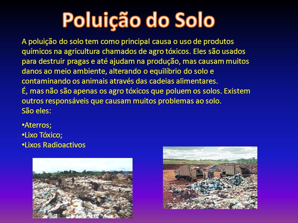 A poluição do solo tem como principal causa o uso de produtos químicos na agricultura chamados de agro tóxicos.