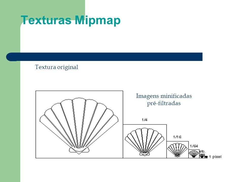 Texturas Mipmap Textura original Imagens minificadas pré-filtradas