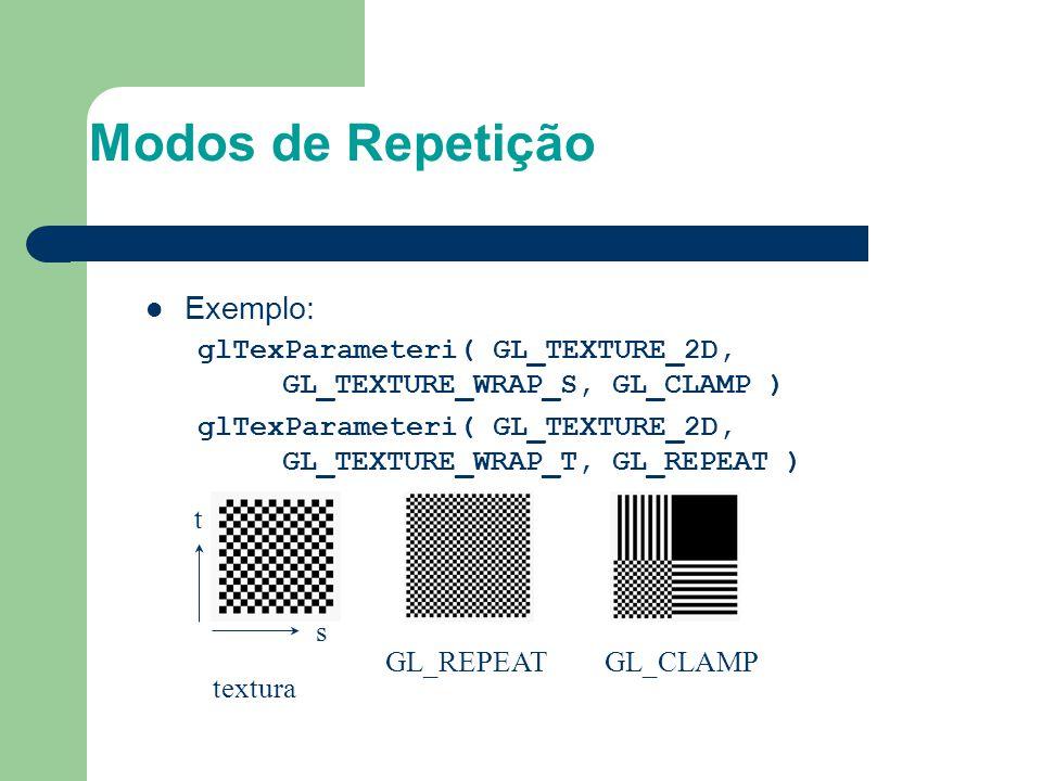 Modos de Repetição Exemplo: glTexParameteri( GL_TEXTURE_2D, GL_TEXTURE_WRAP_S, GL_CLAMP ) glTexParameteri( GL_TEXTURE_2D, GL_TEXTURE_WRAP_T, GL_REPEAT