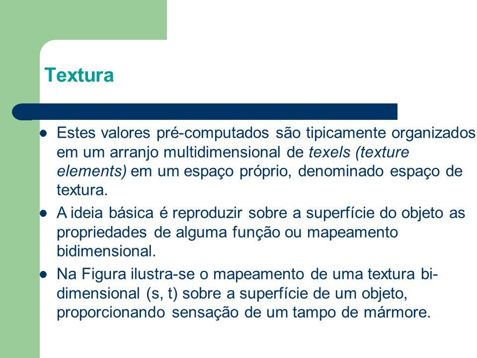 Modos de Repetição Exemplo: glTexParameteri( GL_TEXTURE_2D, GL_TEXTURE_WRAP_S, GL_CLAMP ) glTexParameteri( GL_TEXTURE_2D, GL_TEXTURE_WRAP_T, GL_REPEAT ) textura s t GL_CLAMPGL_REPEAT