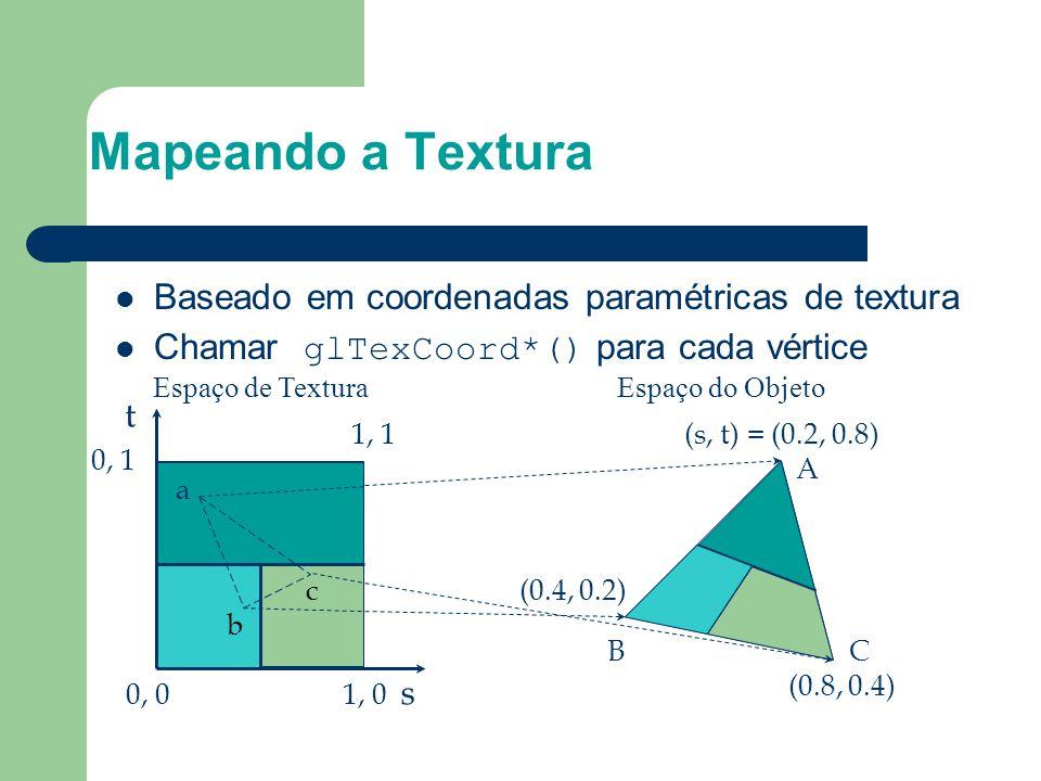 Baseado em coordenadas paramétricas de textura Chamar glTexCoord*() para cada vértice s t 1, 1 0, 1 0, 01, 0 (s, t) = (0.2, 0.8) (0.4, 0.2) (0.8, 0.4)