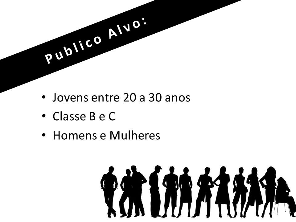 Jovens entre 20 a 30 anos Classe B e C Homens e Mulheres Publico Alvo: