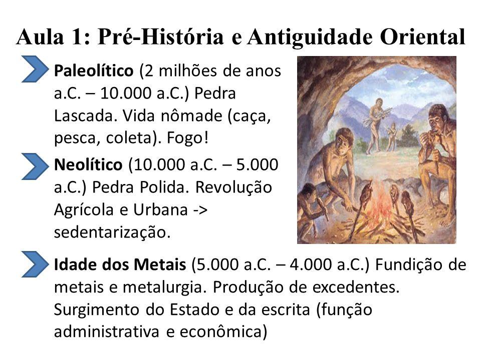Aula 1: Pré-História e Antiguidade Oriental Paleolítico (2 milhões de anos a.C.