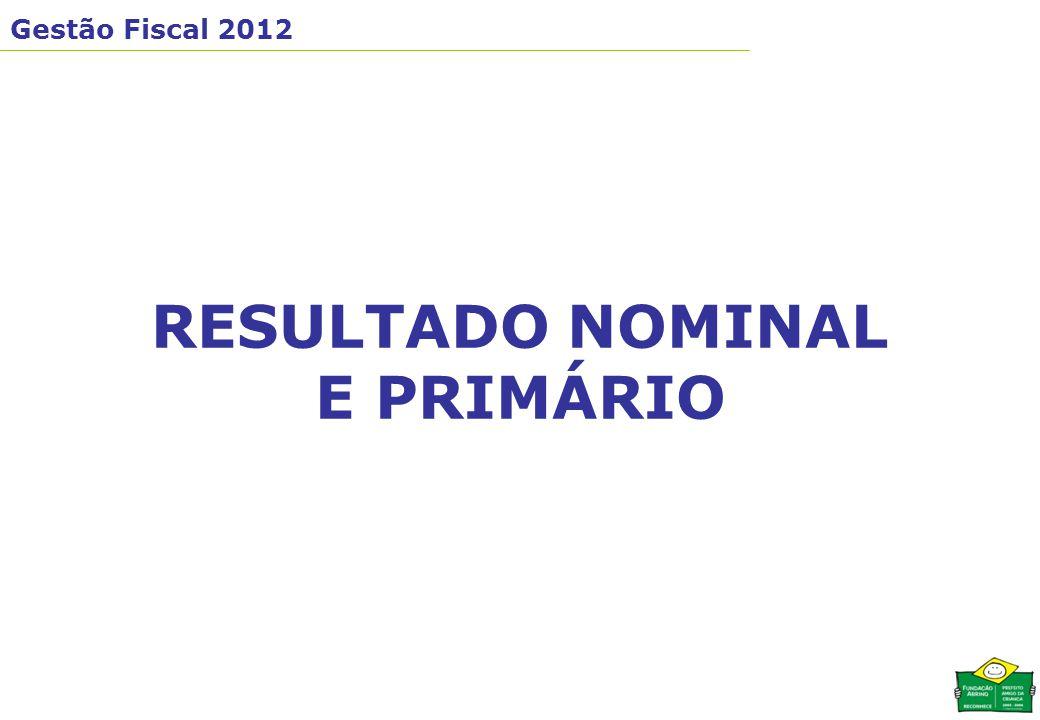 Gestão Fiscal 2012 RESULTADO NOMINAL E PRIMÁRIO