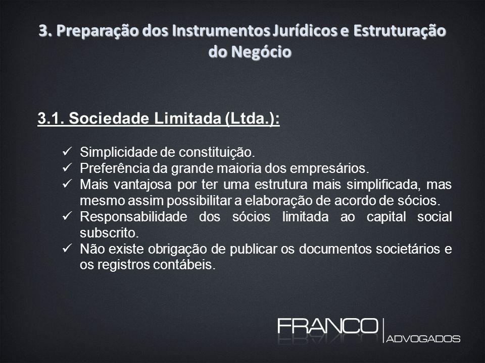 3. Preparação dos Instrumentos Jurídicos e Estruturação do Negócio 3.1.