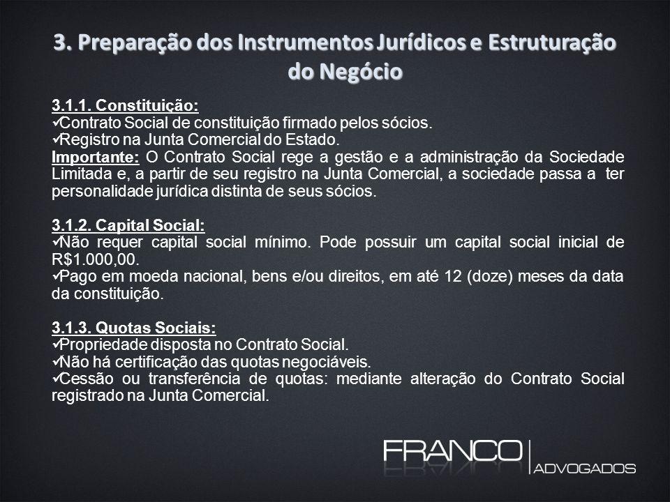 3. Preparação dos Instrumentos Jurídicos e Estruturação do Negócio 3.1.1.