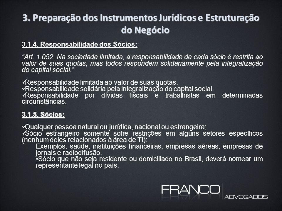 3. Preparação dos Instrumentos Jurídicos e Estruturação do Negócio 3.1.4.