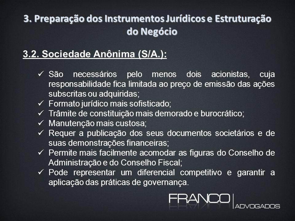 3. Preparação dos Instrumentos Jurídicos e Estruturação do Negócio 3.2.