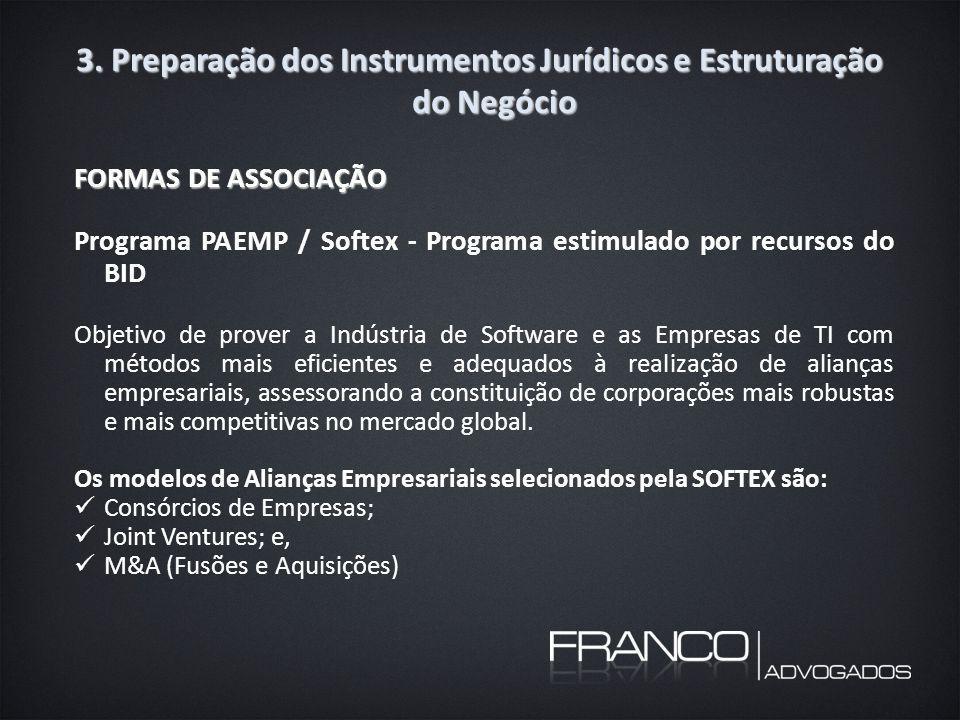 3. Preparação dos Instrumentos Jurídicos e Estruturação do Negócio FORMAS DE ASSOCIAÇÃO Programa PAEMP / Softex - Programa estimulado por recursos do