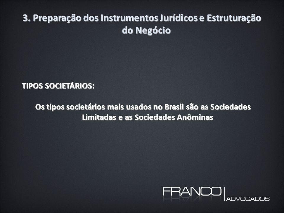 3. Preparação dos Instrumentos Jurídicos e Estruturação do Negócio TIPOS SOCIETÁRIOS: Os tipos societários mais usados no Brasil são as Sociedades Lim