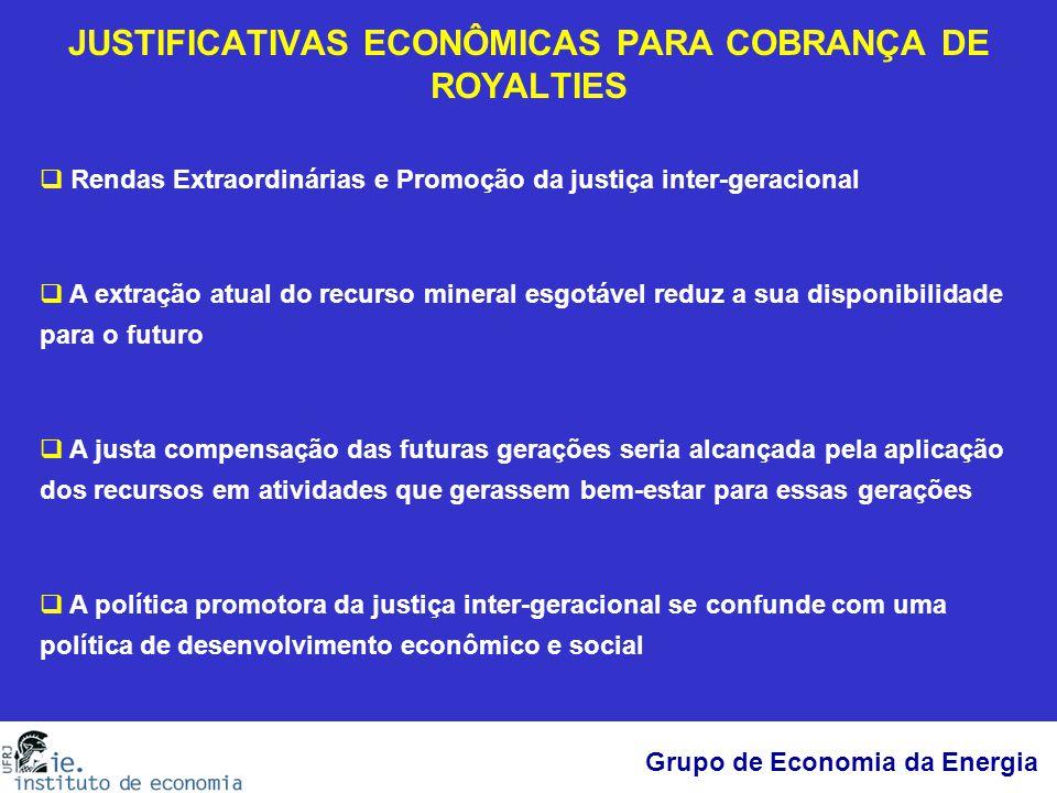 Grupo de Economia da Energia JUSTIFICATIVAS ECONÔMICAS PARA COBRANÇA DE ROYALTIES  Rendas Extraordinárias e Promoção da justiça inter-geracional  A