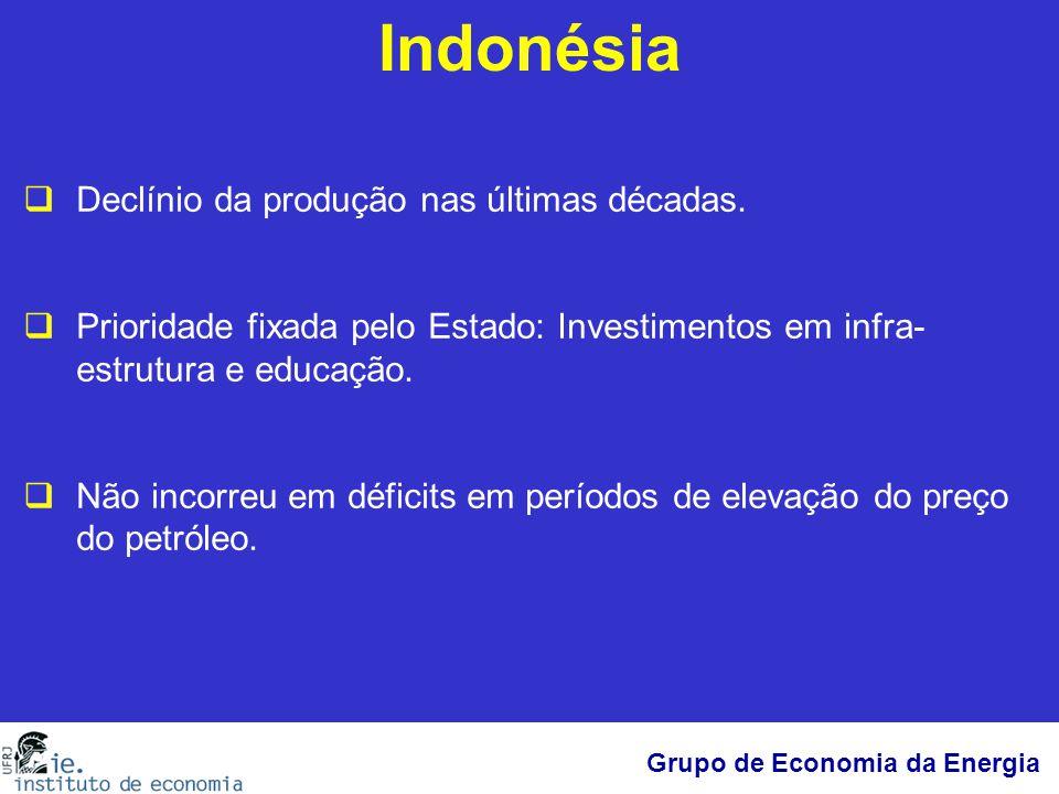 Grupo de Economia da Energia Indonésia  Declínio da produção nas últimas décadas.  Prioridade fixada pelo Estado: Investimentos em infra- estrutura