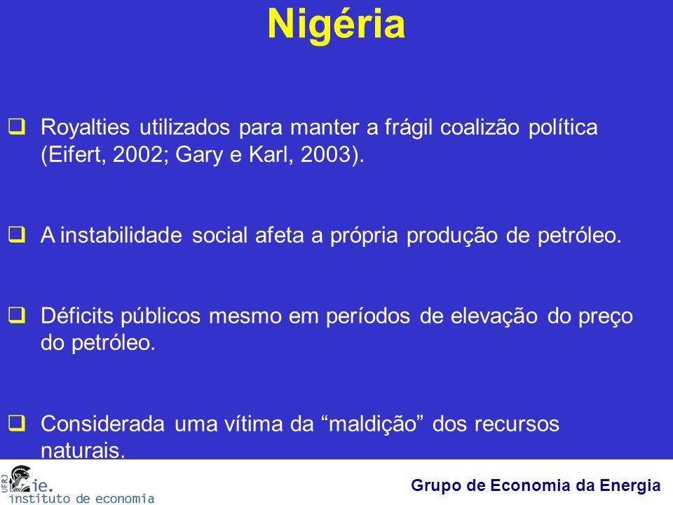 Grupo de Economia da Energia Nigéria  Royalties utilizados para manter a frágil coalizão política (Eifert, 2002; Gary e Karl, 2003).  A instabilidad