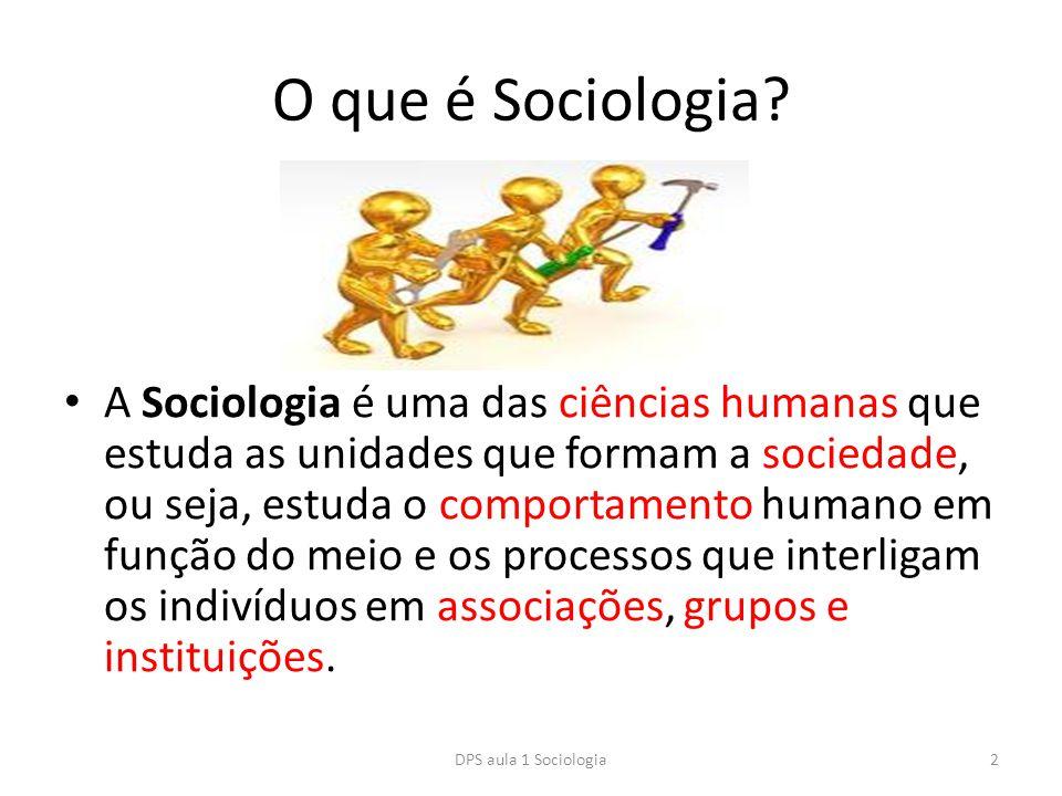 O que é Sociologia? A Sociologia é uma das ciências humanas que estuda as unidades que formam a sociedade, ou seja, estuda o comportamento humano em f
