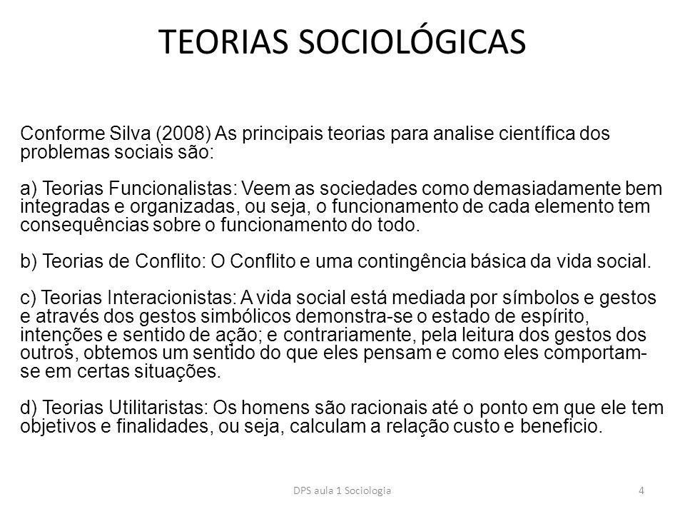 TEORIAS SOCIOLÓGICAS Conforme Silva (2008) As principais teorias para analise científica dos problemas sociais são: a) Teorias Funcionalistas: Veem as