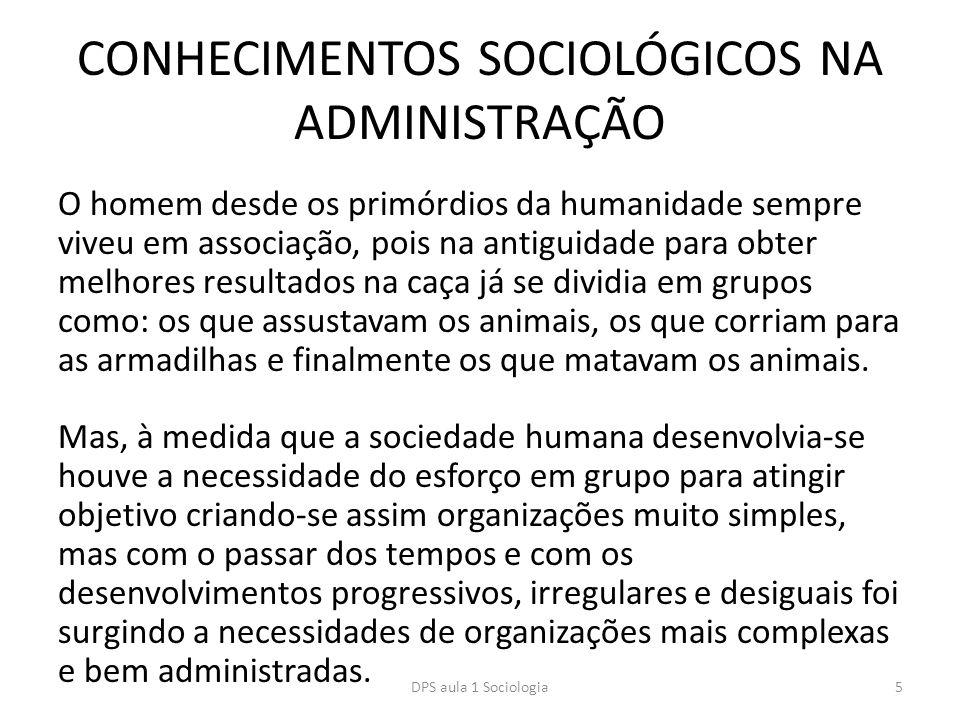 CONHECIMENTOS SOCIOLÓGICOS NA ADMINISTRAÇÃO O homem desde os primórdios da humanidade sempre viveu em associação, pois na antiguidade para obter melho