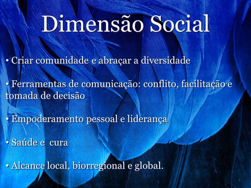 Dimensão Social Criar comunidade e abraçar a diversidade Ferramentas de comunicação: conflito, facilitação e tomada de decisão Empoderamento pessoal e liderança Saúde e cura Alcance local, biorregional e global.