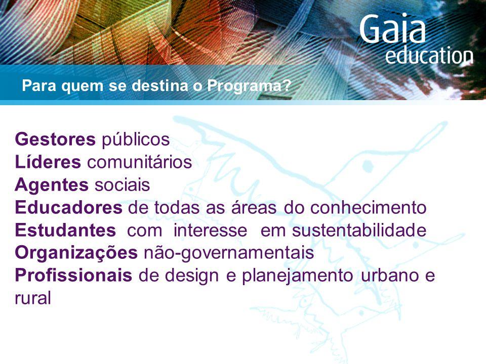Gestores públicos Líderes comunitários Agentes sociais Educadores de todas as áreas do conhecimento Estudantes com interesse em sustentabilidade Organizações não-governamentais Profissionais de design e planejamento urbano e rural Para quem se destina o Programa