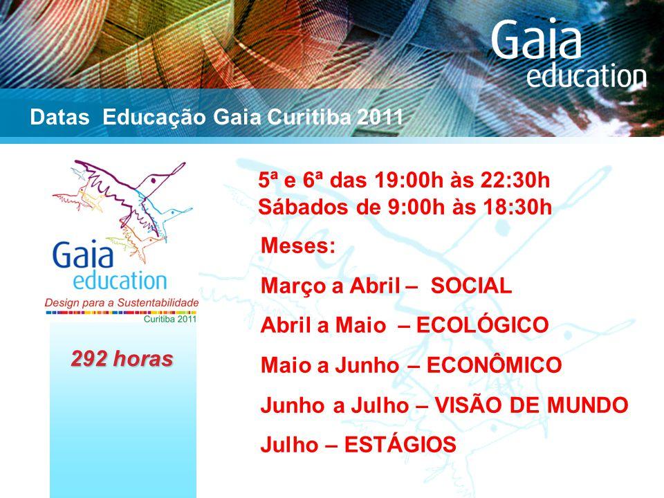 5ª e 6ª das 19:00h às 22:30h Sábados de 9:00h às 18:30h Datas Educação Gaia Curitiba 2011 Meses: Março a Abril – SOCIAL Abril a Maio – ECOLÓGICO Maio a Junho – ECONÔMICO Junho a Julho – VISÃO DE MUNDO Julho – ESTÁGIOS 292 horas