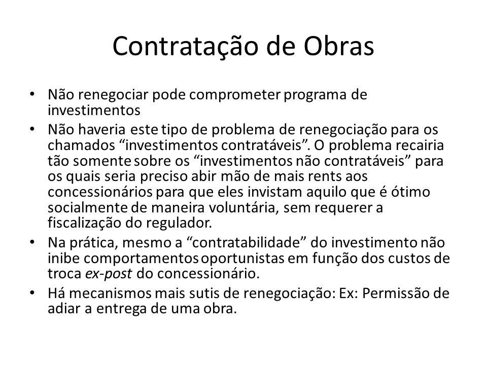 Contratação de Obras Não renegociar pode comprometer programa de investimentos Não haveria este tipo de problema de renegociação para os chamados investimentos contratáveis .