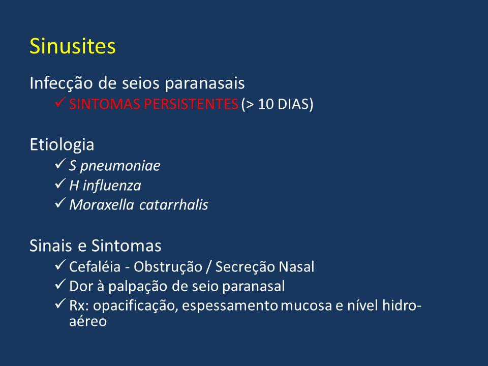 Infecção de seios paranasais SINTOMAS PERSISTENTES (> 10 DIAS) Etiologia S pneumoniae H influenza Moraxella catarrhalis Sinais e Sintomas Cefaléia - O