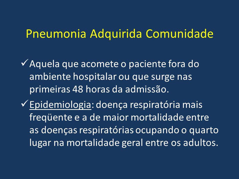 Pneumonia Adquirida Comunidade Aquela que acomete o paciente fora do ambiente hospitalar ou que surge nas primeiras 48 horas da admissão. Epidemiologi