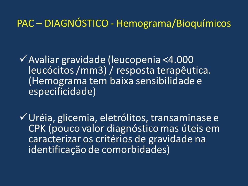 PAC – DIAGNÓSTICO - Hemograma/Bioquímicos Avaliar gravidade (leucopenia <4.000 leucócitos /mm3) / resposta terapêutica. (Hemograma tem baixa sensibili