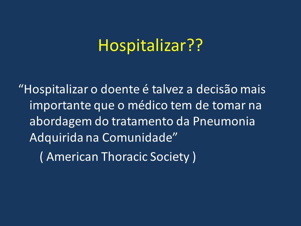 """Hospitalizar?? """"Hospitalizar o doente é talvez a decisão mais importante que o médico tem de tomar na abordagem do tratamento da Pneumonia Adquirida n"""