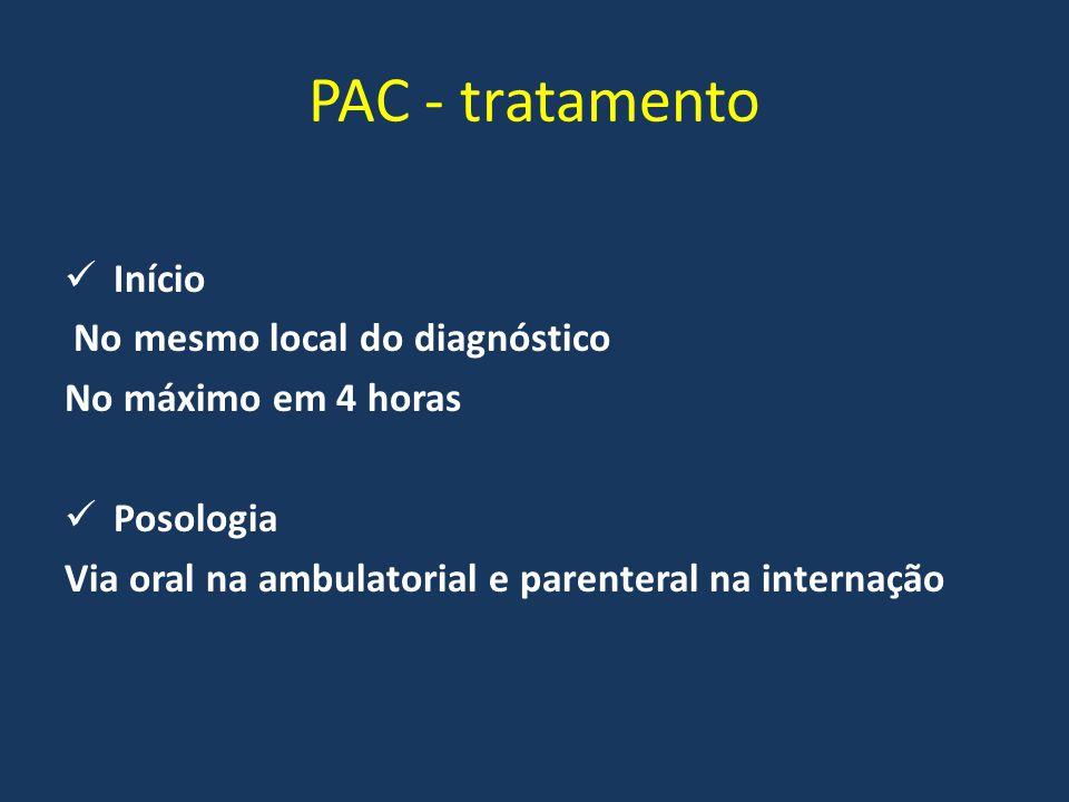 PAC - tratamento Início No mesmo local do diagnóstico No máximo em 4 horas Posologia Via oral na ambulatorial e parenteral na internação