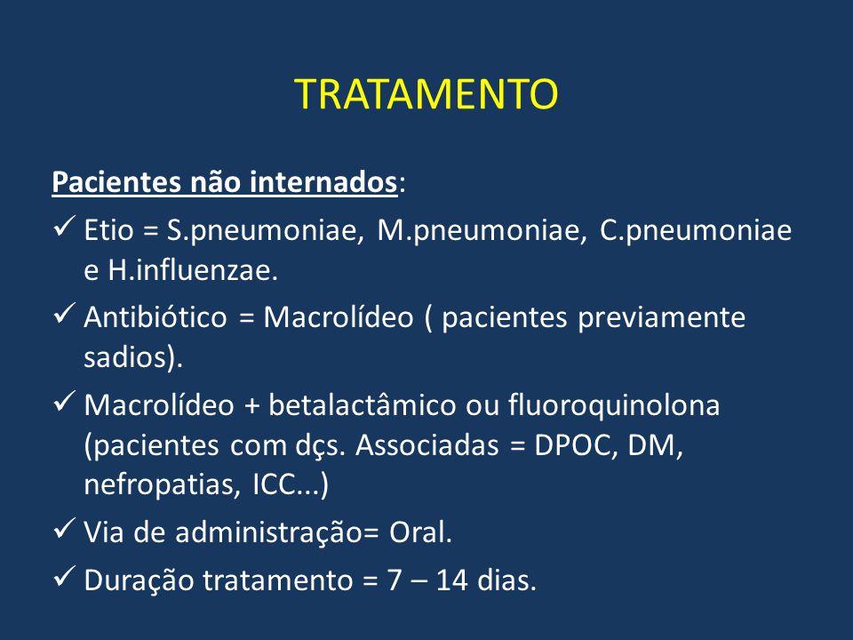 TRATAMENTO Pacientes não internados: Etio = S.pneumoniae, M.pneumoniae, C.pneumoniae e H.influenzae. Antibiótico = Macrolídeo ( pacientes previamente