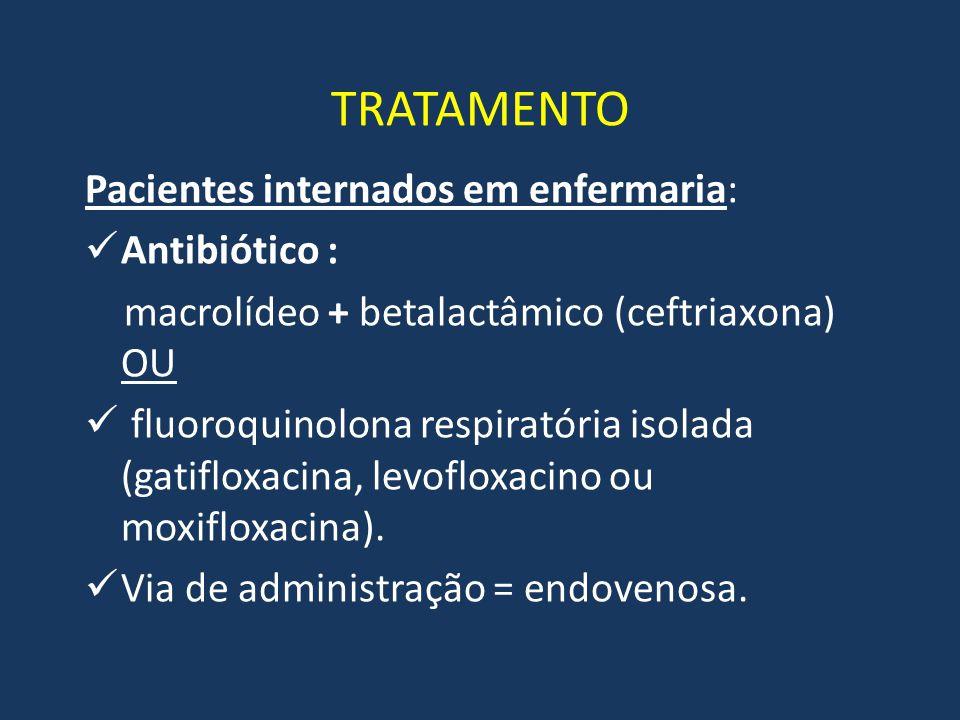 TRATAMENTO Pacientes internados em enfermaria: Antibiótico : macrolídeo + betalactâmico (ceftriaxona) OU fluoroquinolona respiratória isolada (gatiflo