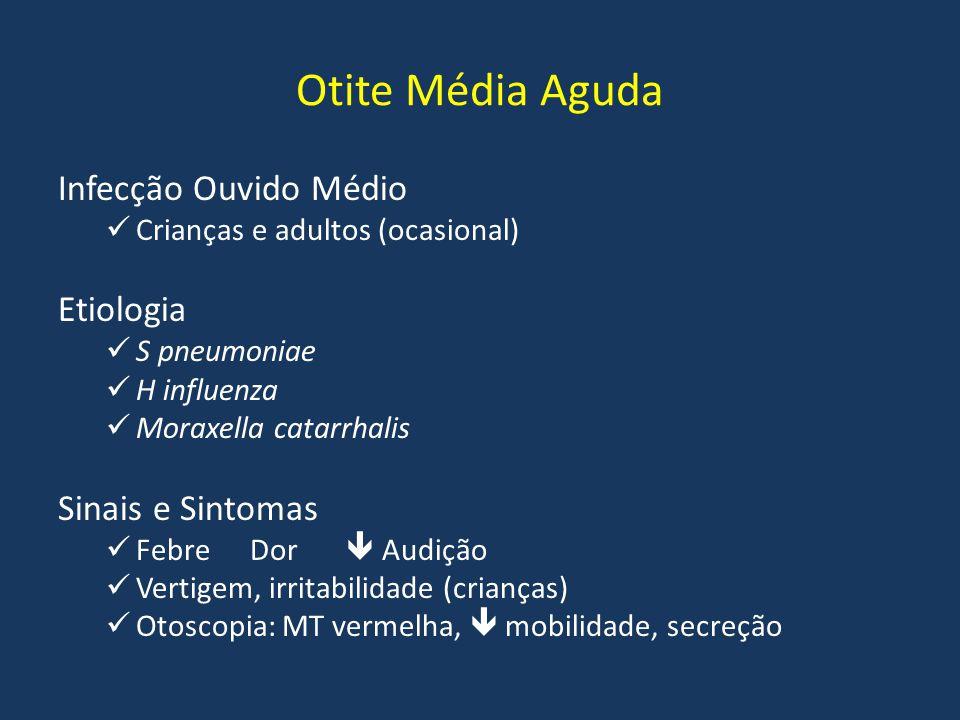 Otite Média Aguda Infecção Ouvido Médio Crianças e adultos (ocasional) Etiologia S pneumoniae H influenza Moraxella catarrhalis Sinais e Sintomas Febr