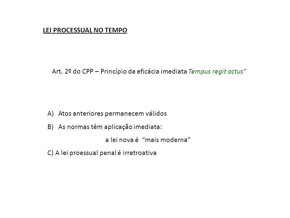 "LEI PROCESSUAL NO TEMPO Art. 2º do CPP – Princípio da eficácia imediata Tempus regit actus"" A)Atos anteriores permanecem válidos B)As normas têm aplic"
