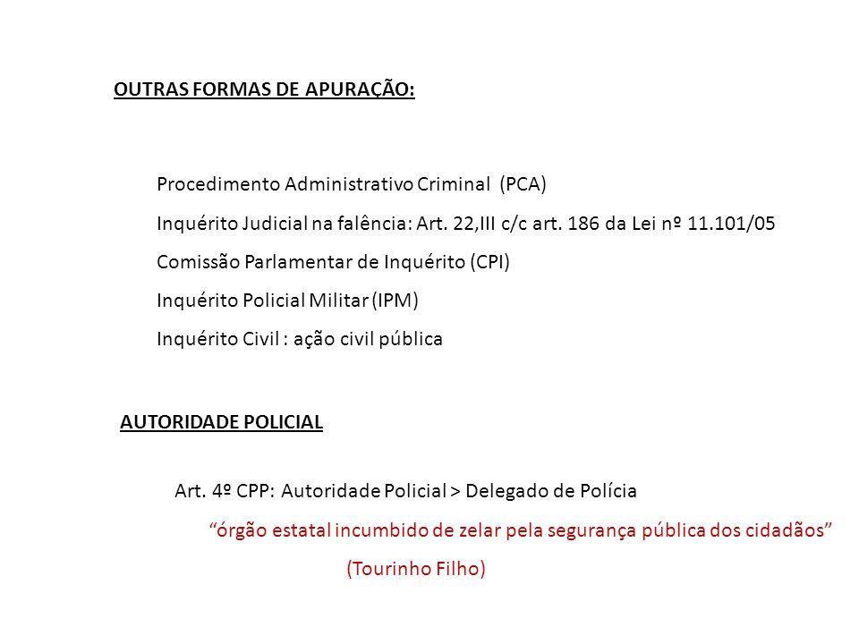 OUTRAS FORMAS DE APURAÇÃO: Procedimento Administrativo Criminal (PCA) Inquérito Judicial na falência: Art. 22,III c/c art. 186 da Lei nº 11.101/05 Com