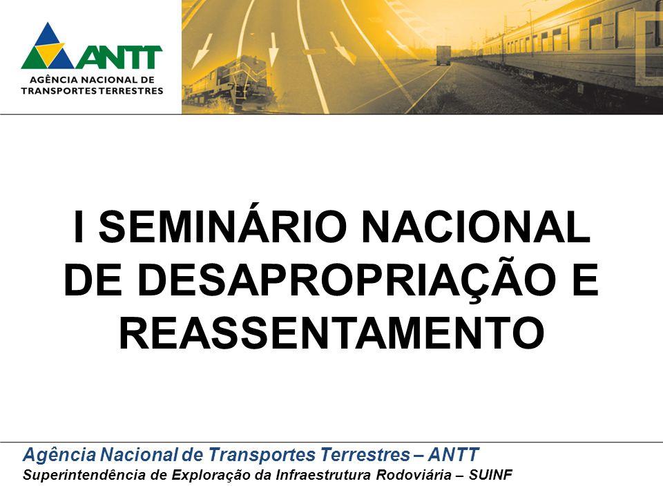 Agência Nacional de Transportes Terrestres – ANTT Superintendência de Exploração da Infraestrutura Rodoviária – SUINF I SEMINÁRIO NACIONAL DE DESAPROP