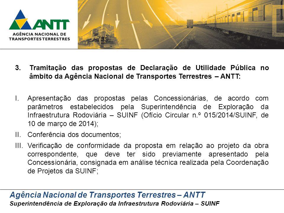 Agência Nacional de Transportes Terrestres – ANTT Superintendência de Exploração da Infraestrutura Rodoviária – SUINF 3.Tramitação das propostas de De
