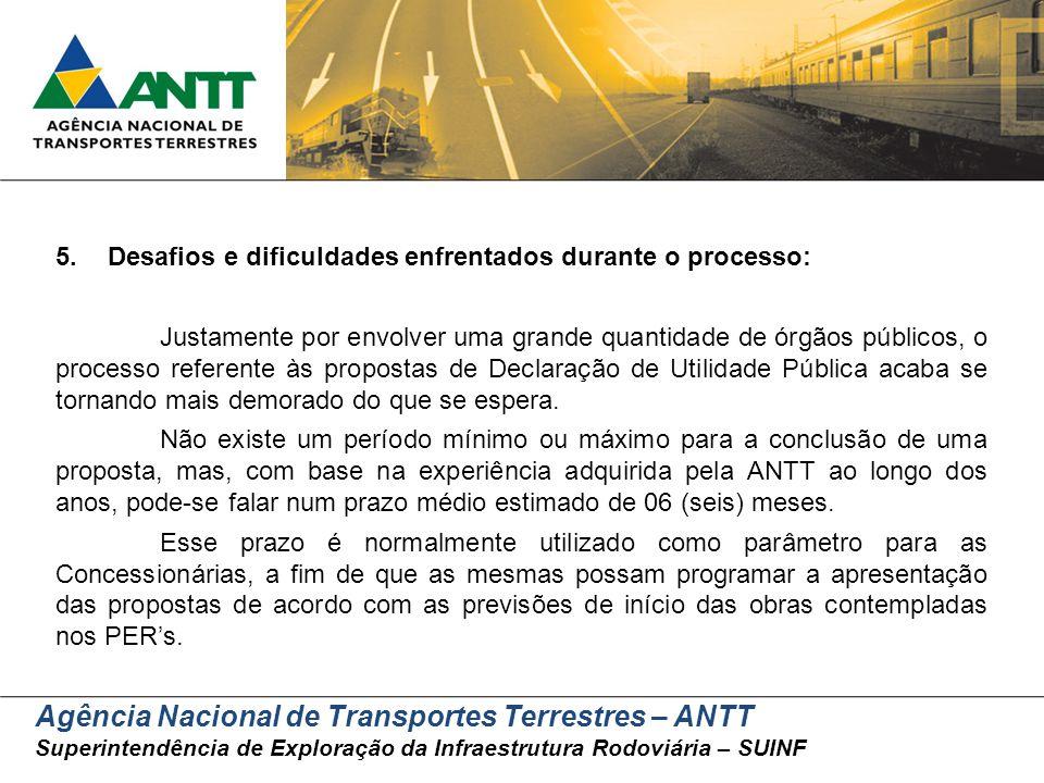 Agência Nacional de Transportes Terrestres – ANTT Superintendência de Exploração da Infraestrutura Rodoviária – SUINF 5.Desafios e dificuldades enfren