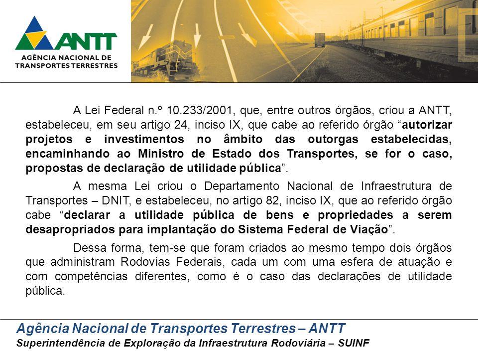 Agência Nacional de Transportes Terrestres – ANTT Superintendência de Exploração da Infraestrutura Rodoviária – SUINF A Lei Federal n.º 10.233/2001, q