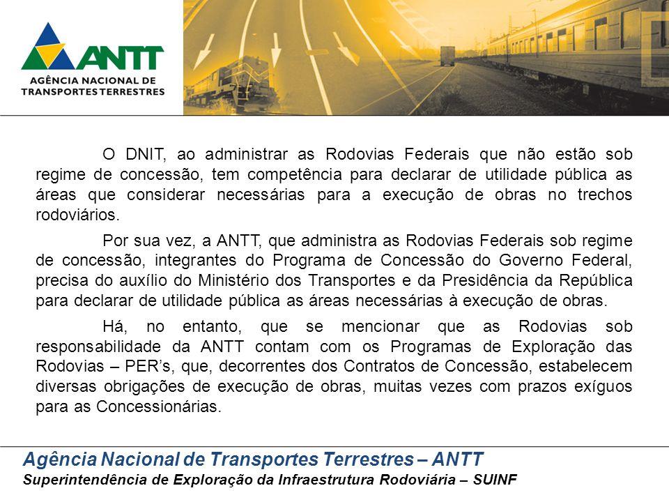 Agência Nacional de Transportes Terrestres – ANTT Superintendência de Exploração da Infraestrutura Rodoviária – SUINF O DNIT, ao administrar as Rodovi