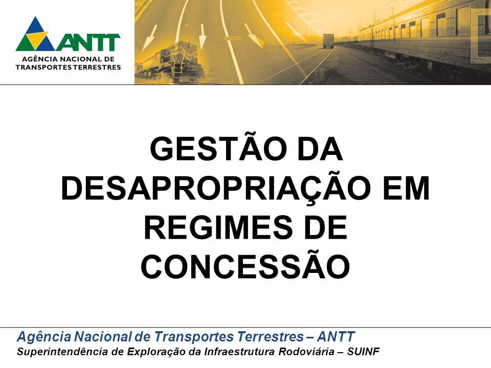 Agência Nacional de Transportes Terrestres – ANTT Superintendência de Exploração da Infraestrutura Rodoviária – SUINF GESTÃO DA DESAPROPRIAÇÃO EM REGI
