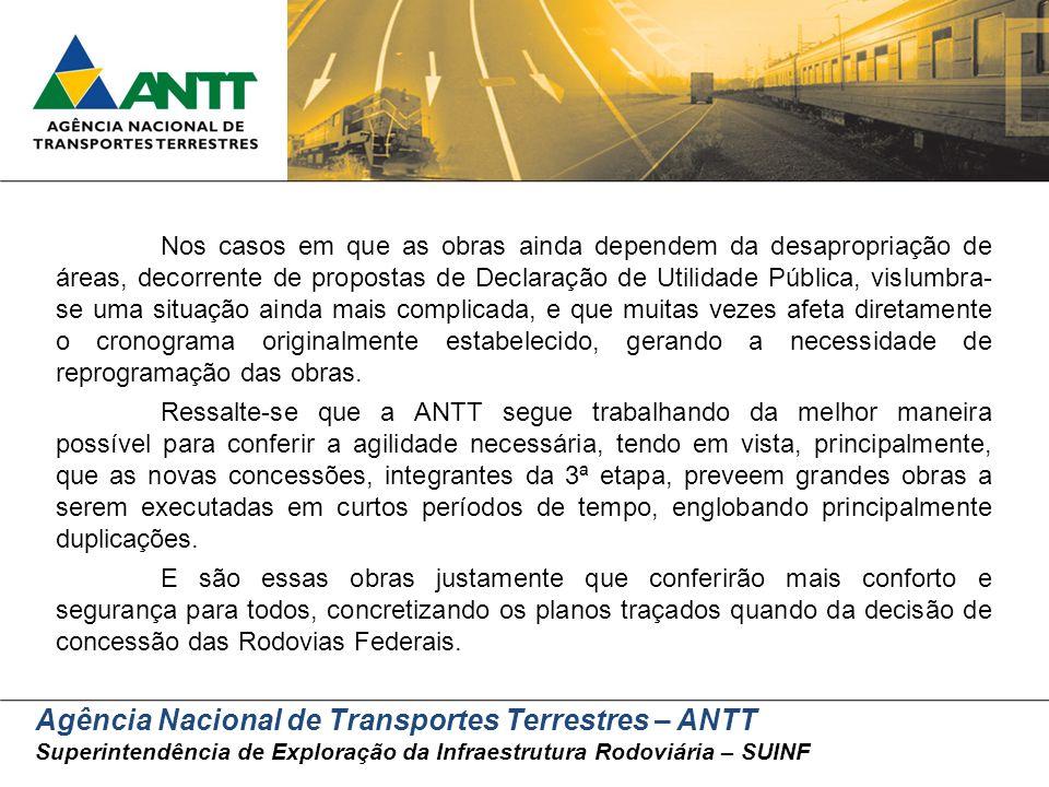 Agência Nacional de Transportes Terrestres – ANTT Superintendência de Exploração da Infraestrutura Rodoviária – SUINF Nos casos em que as obras ainda
