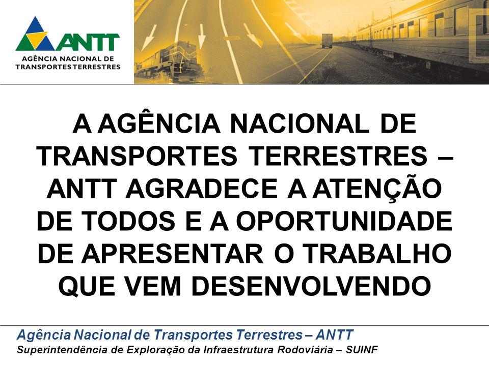 Agência Nacional de Transportes Terrestres – ANTT Superintendência de Exploração da Infraestrutura Rodoviária – SUINF A AGÊNCIA NACIONAL DE TRANSPORTE