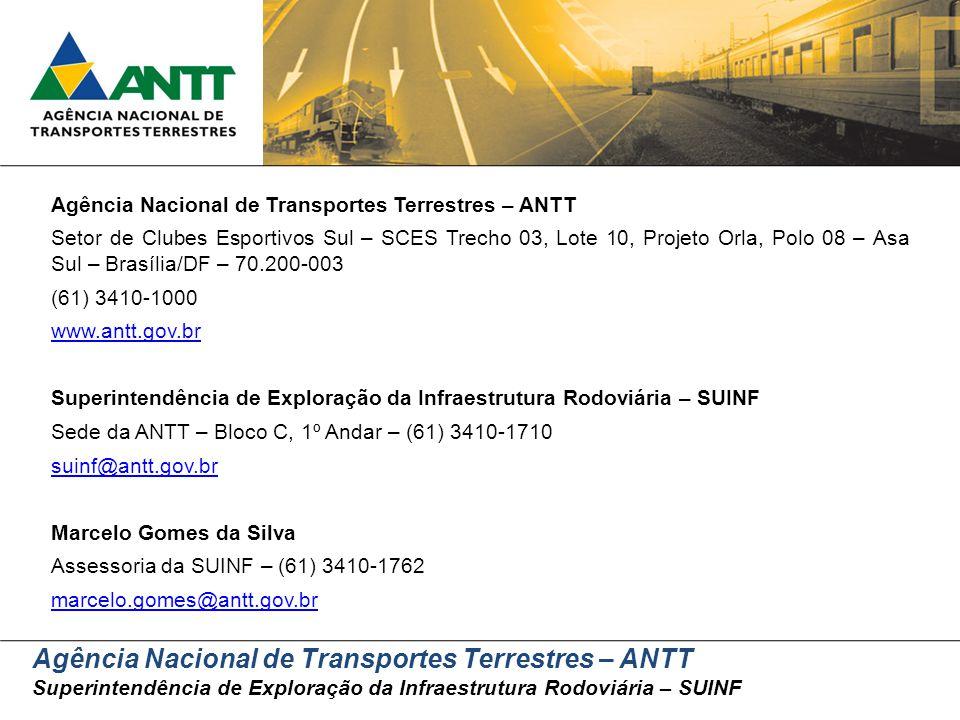 Agência Nacional de Transportes Terrestres – ANTT Superintendência de Exploração da Infraestrutura Rodoviária – SUINF Agência Nacional de Transportes