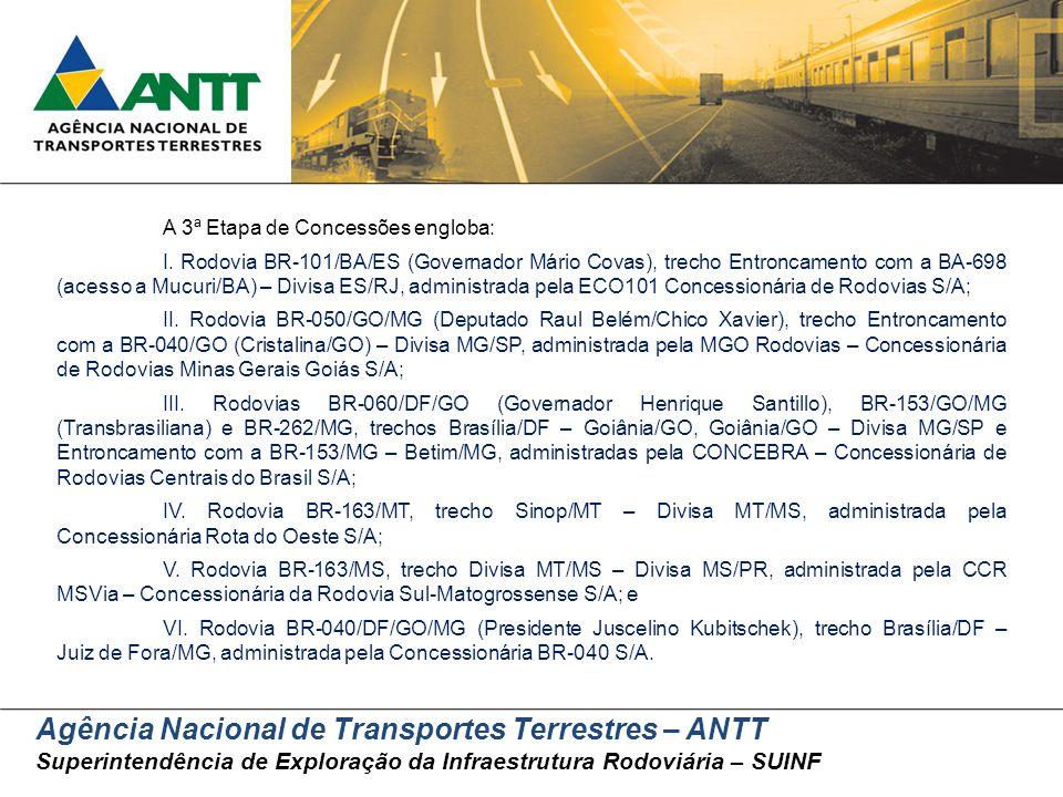 Agência Nacional de Transportes Terrestres – ANTT Superintendência de Exploração da Infraestrutura Rodoviária – SUINF A 3ª Etapa de Concessões engloba