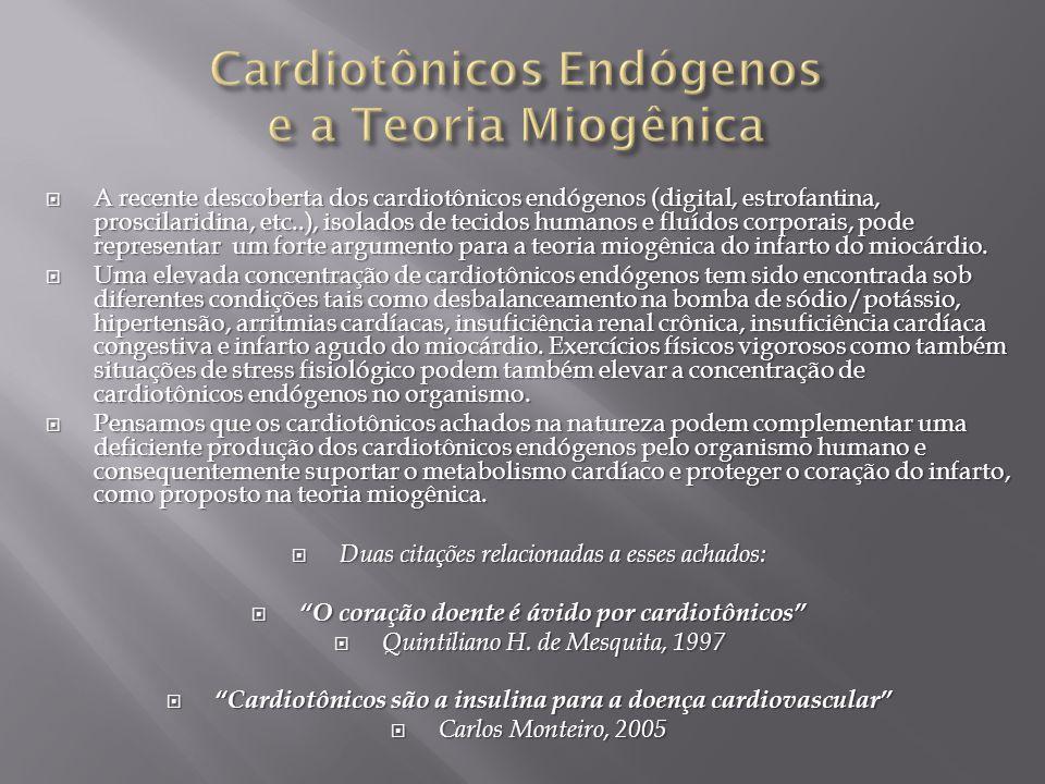  A recente descoberta dos cardiotônicos endógenos (digital, estrofantina, proscilaridina, etc..), isolados de tecidos humanos e fluídos corporais, pode representar um forte argumento para a teoria miogênica do infarto do miocárdio.