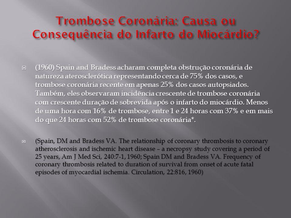  (1970) Hellstrom demonstrou experimentalmente a trombose coronária secundária ao infarto agudo do miocárdio, causada por ligadura da artéria coronária.