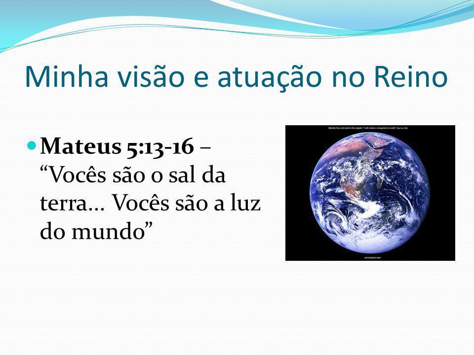 Minha visão e atuação no Reino Mateus 5:13-16 – Vocês são o sal da terra...