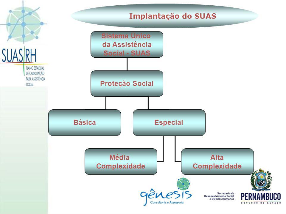 Sistema Único da Assistência Social - SUAS Proteção Social BásicaEspecial Média Complexidade Alta Complexidade Implantação do SUAS