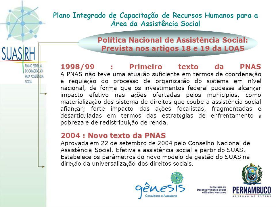 1998/99 : Primeiro texto da PNAS A PNAS não teve uma atua ç ão suficiente em termos de coordena ç ão e regula ç ão do processo de organiza ç ão do sis
