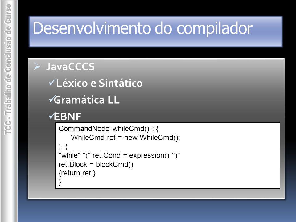 Desenvolvimento do compilador  projetos (.NET) Wakizashi Waki Waki.Common Waki.Comp Waki.Gen System.Waki